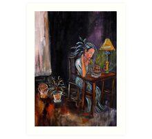 Lady In Blue Art Print