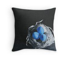 Blue Bird Eggs Throw Pillow