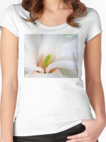 White Magnolia flower, floral art Women's Fitted Scoop T-Shirt