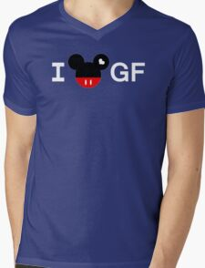 I Mickey GF [For Men] Mens V-Neck T-Shirt