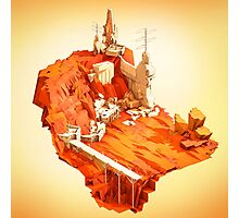 Mars Colony Sci Fi Low Poly Photographic Print