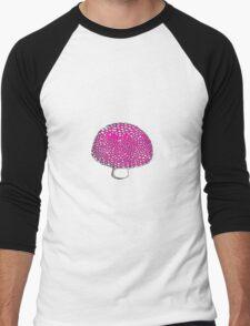 The Hot Pink Mushroom, Shroom, Fungus Men's Baseball ¾ T-Shirt