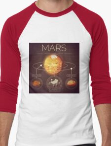 Planet Mars Infographic NASA Men's Baseball ¾ T-Shirt