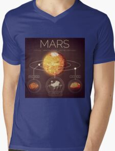 Planet Mars Infographic NASA Mens V-Neck T-Shirt