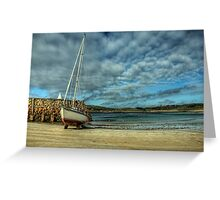 A Yacht on Braye Beach Greeting Card