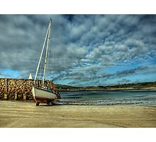 A Yacht on Braye Beach Photographic Print
