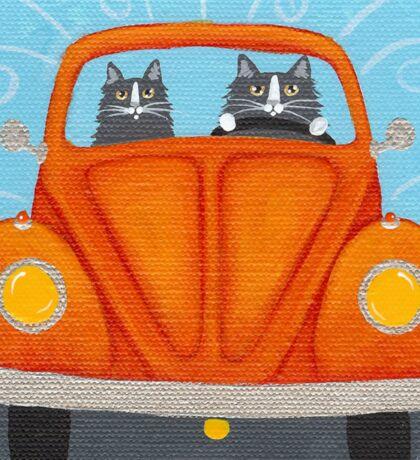 Orange Road Trip Cats Sticker