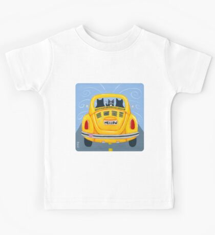 Yellow Road Trip Cats Kids Tee