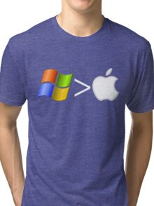 PC greater than Mac Tri-blend T-Shirt