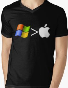PC greater than Mac Mens V-Neck T-Shirt