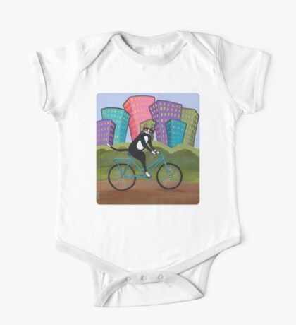 Bicycle Cat One Piece - Short Sleeve