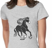 Black and White Shire Horse Art Womens Fitted T-Shirt