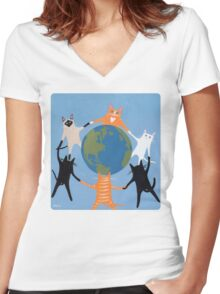 Earth Day Cats Women's Fitted V-Neck T-Shirt