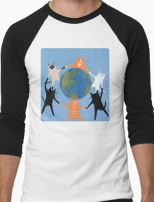 Earth Day Cats Men's Baseball ¾ T-Shirt