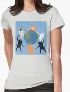 Earth Day Cats Womens Fitted T-Shirt