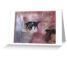 Summer vacation in the village - children play game horses Greeting Card