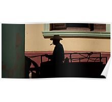 Horse and cart driver in silhouete Poster