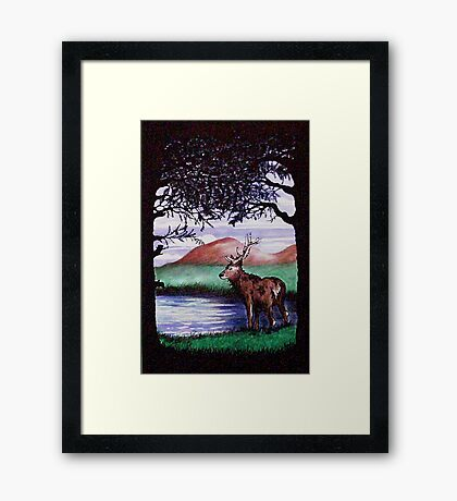 Out of the Forest I `Red Stag' Framed Print