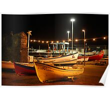 Fishing boats in the harbour Poster