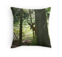 Deer Peeking - Muskoka Throw Pillow