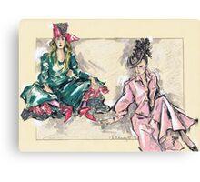 Girls Sitting or Chicas Sentadas Canvas Print