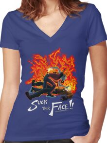 Suck Your Face Women's Fitted V-Neck T-Shirt