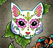 Day of the Dead Cat in White Sugar Skull Kitty by prettyinink