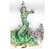 Green Flamenco or Flamenco Verde Poster