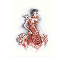 Red Flamenco or Flamenco Rojo Art Print