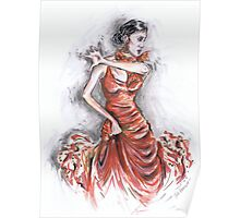 Red Flamenco or Flamenco Rojo Poster