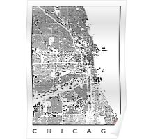 Chicago Map Schwarzplan Only Buildings Poster