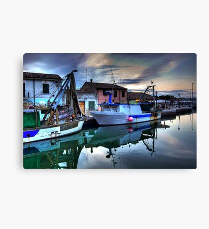 Cesenatico Fishing Harbour  Canvas Print