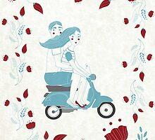 vespa couple by tomashevskaya