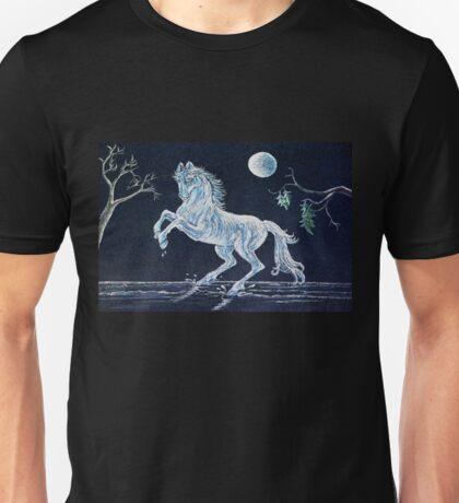 White Horse Under Moon Unisex T-Shirt