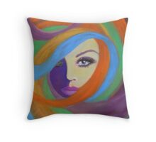 THE LADY IN THE MOON Throw Pillow