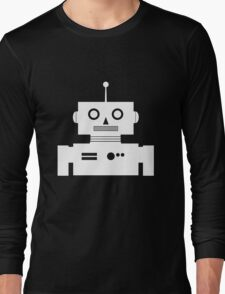 Retro Robot Shape Wht Long Sleeve T-Shirt