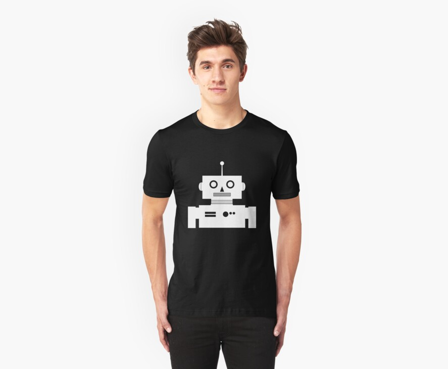 Retro Robot Shape Wht by mdkgraphics