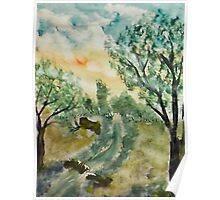 Down by the creek, watercolor Poster