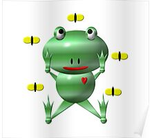 Cute frog and flies Poster