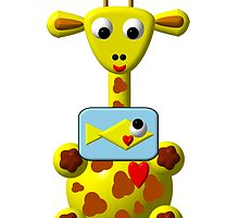Cute giraffe with goldfish by Rose Santuci-Sofranko