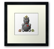 Cute hippo with Framed Print