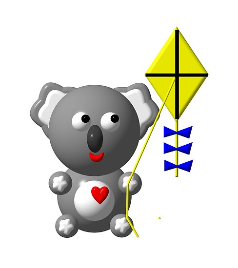 Cute koala with a kite by Rose Santuci-Sofranko