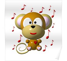 Cute musical monkey Poster