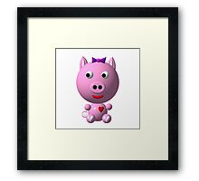 Cute pink pig wearing a purple bow Framed Print