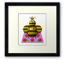 Cute queen bee on a quilt Framed Print