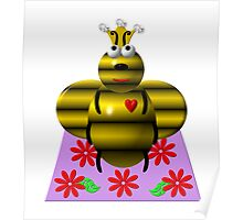 Cute queen bee on a quilt Poster