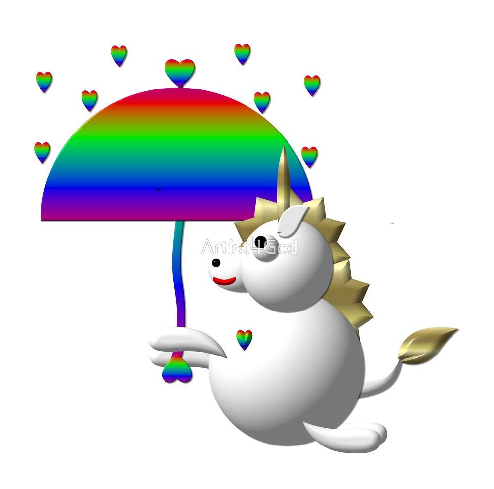 Cute unicorn with an umbrella by Rose Santuci-Sofranko
