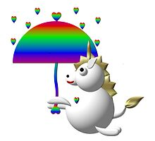 Cute unicorn with an umbrella by Rose Santuci-Sofranko