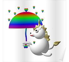 Cute unicorn with an umbrella Poster
