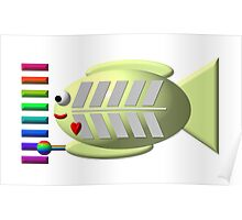 Cute x-ray fish playing the xylophone Poster